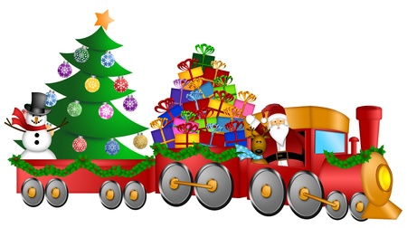 christmas train: Santa Claus and Reindeer Delivering Gifts in Red Train with Snowman and Christmas Tree Illustration
