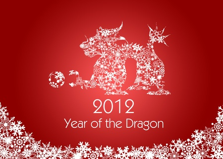 mythical festive: 2012 Chinese New Year Dragon with Snowflakes Pattern on Red Background Stock Photo