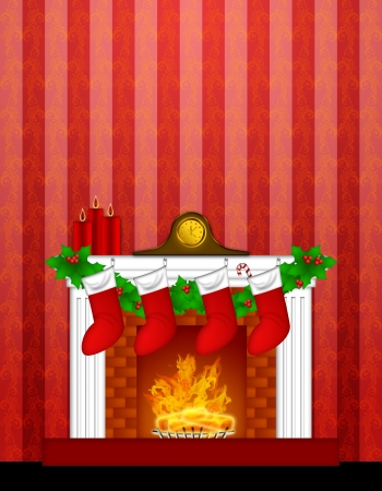 mantle: Fireplace Christmas Decoration with Garland Stocking Pillar Candles and Mantel Clock  on Red Wallpaper Background Illustration Stock Photo