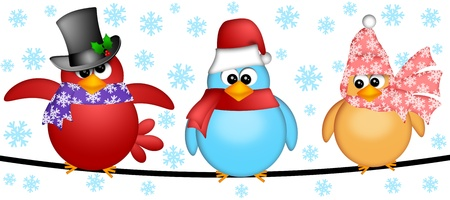 flying hat: Three Christmas Birds on  a Wire Cartoon Clipart Illustration Isolated on White Background with Snowflakes