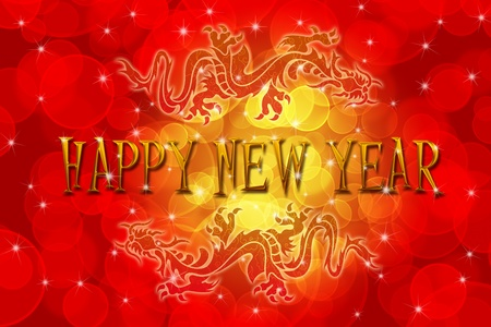 Double Chinese Archaic Dragons with Chinese New Year Greeting Text Illustration