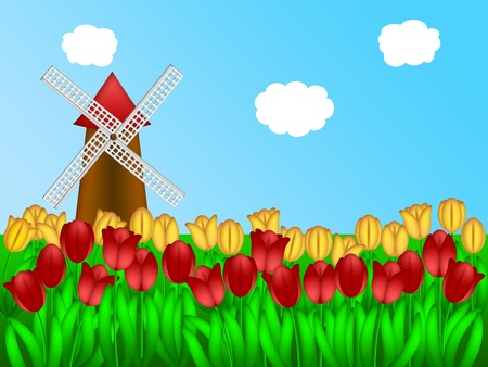 holland: Dutch Windmill in Holland Tulips Field Farm Illustration