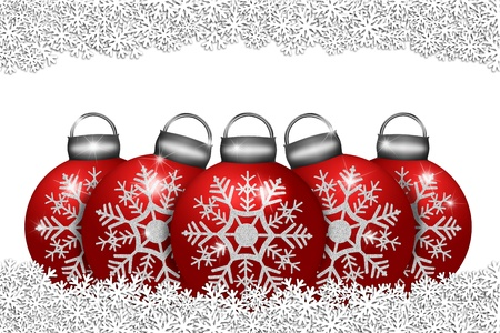 Five Red Ornaments Sitting on Snow with Snowflakes Border Illustration Stock Illustration - 11585717