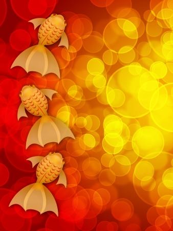 peces de colores: Año Nuevo Chino Tres Ilustración goldfish de lujo en el fondo borroso Red Foto de archivo