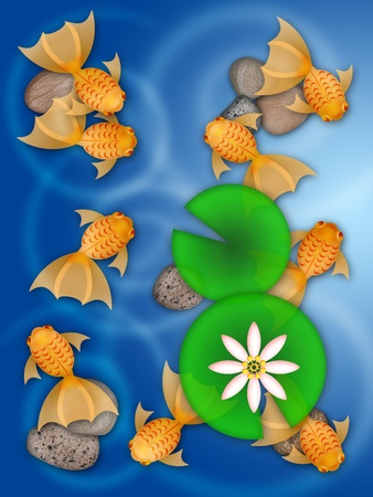 lily pad: Fancy Goldfish Swimming in Pond with Lily Pad Flower and Pebbles Illustration