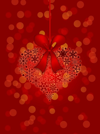 Christmas Snowflakes Heart Shape Ornament on Red Blurred Background Illustration illustration