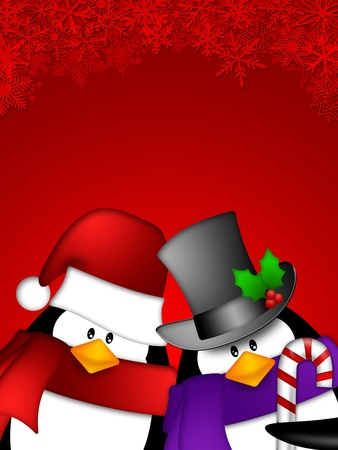 Cute Cartoon Penguin Couple on Red Snowflakes Background Illustration Stok Fotoğraf