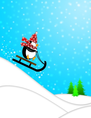 Cute Penguin with Christmas Snowflakes Scarf Riding on Sled Downhill Illustration illustration