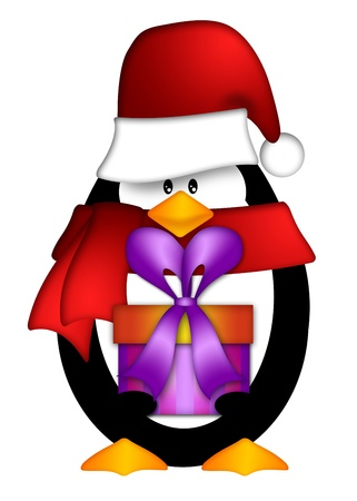bearing: Cute Cartoon Penguin with Santa Hat and Red Scarf Holding Wrapped Present Illustration Isolated on White Background Stock Photo
