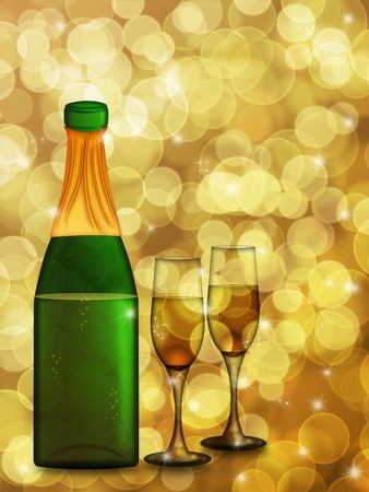 champagne celebration: Champagne Bottle with Two Glass Flutes on Blurred Background Illustration