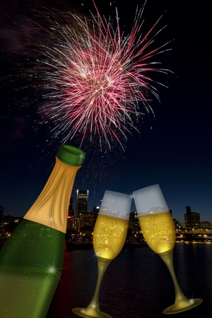 portland: Champagne Toast Bottle and Glass Flutes with Portland Oregon City Skyline and Fireworks Illustration Stock Photo