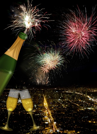 Champagne Toast Bottle and Glass Flutes with San Francisco California City Skyline and Fireworks at Night