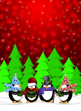 Penguins Carolers Singing Christmas Songs with Snowing Winter Scene Illustration on Red Background