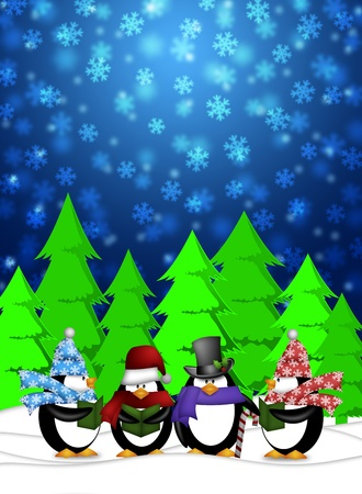 quartet: Penguins Carolers Singing Christmas Songs with Snowing Winter Scene Illustration Stock Photo