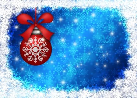 Závěsný Red vánoční strom ornament se sněhové vločky na hranicích a modré rozmazané pozadí ilustrace photo
