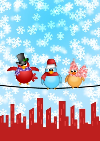 Three Birds on a Wire with Cityscape and Snowflakes Falling Christmas Scene Illustration Stock Illustration - 11585719