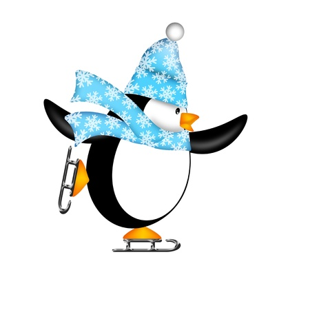 ice: Cute Penguin with Christmas Snowflakes Scarf Ice Skating Illustration Isolated on White Background