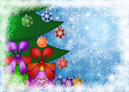 Christmas Presents Under the Trees on Snowflakes Border and Blurred Background Illustration Stock Illustration - 11585720