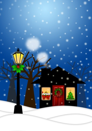 christmas house: House and Lamp Post with Christmas Decoration in Snowing Winter Scene Landscape Illustration