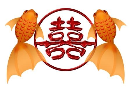 Goldfish par con el símbolo de doble felicidad chino en la eternidad Ilustración Círculo Foto de archivo - 11585724