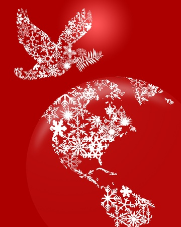 paloma de la paz: Navidad paloma de la paz y la Tierra Ilustración Globo de dibujos sobre fondo rojo