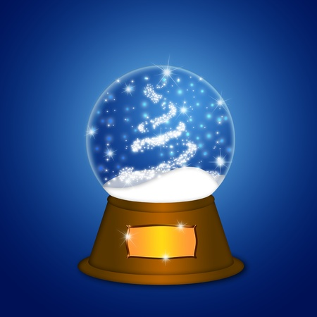 Christmas Water Snow Globe with Christmas Tree Sparkles and Snowflakes Illustration on Blue Background illustration