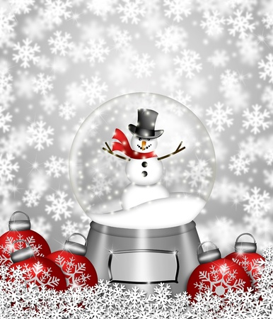 snowglobe: Water Snow Globes with Snowman Snowflakes and Christmas Tree Ornaments Illustration