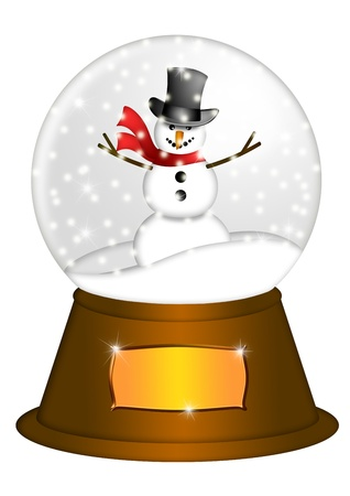 ball on water: Christmas Water Snow Globe Snowman and Blank Title Plaque Illustration Isolated on White Background Stock Photo