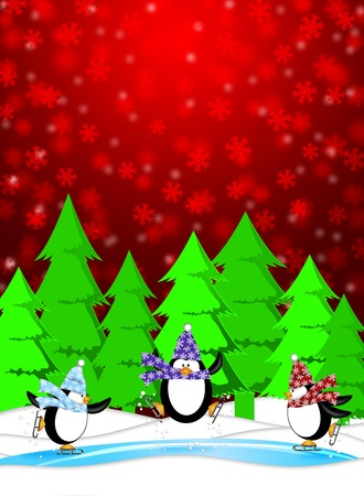 Three Penguins Skating in Ice Rink Snowing Winter Scene Illustration Red Background illustration
