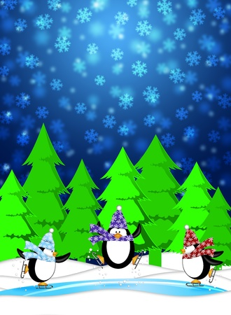 Three Penguins Skating in Ice Rink Snowing Winter Scene Illustration Blue Background illustration