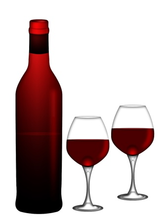 Bottle of Red Wine with Two Wine Glasses Isolated on White Background Illustration Stock Photo