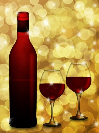 Bottle of Red Wine with Two Wine Glasses on Blurred Defocused Bokeh Background Illustration