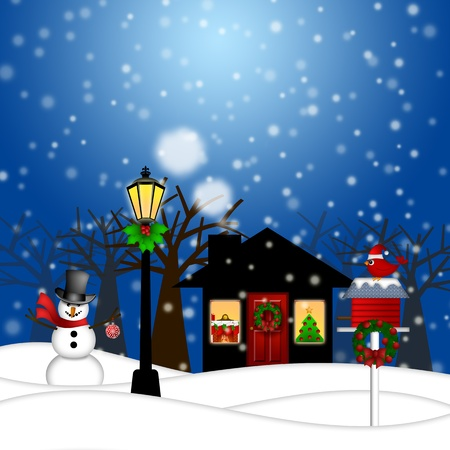 night scene: House with Lamp Post Snowman and Birdhouse Christmas Decoration in Snowing Winter Scene Landscape Illustration Stock Photo