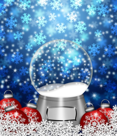 Water Snow Globes Blank Snowflakes and Christmas Tree Ornaments Illustration on Blue Background
