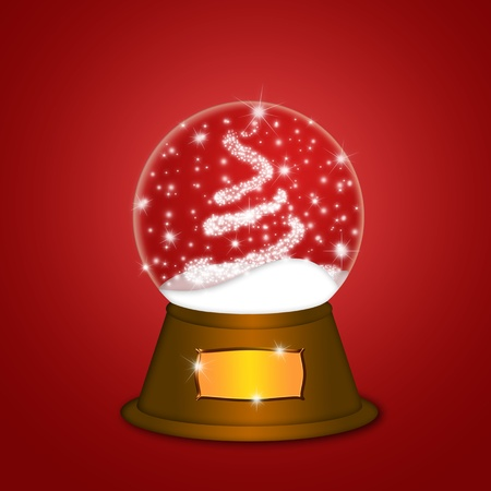 Christmas Water Snow Globe with Christmas Tree Sparkles and Snowflakes Illustration on Red Background illustration