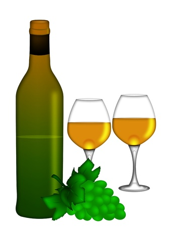 Bottle of White Wine with Two Wine Glasses and Bunch of Grapes Isolated on White Background Illustration