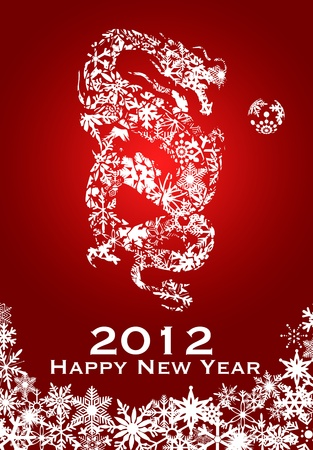 2012 Chinese Year of the Dragon with Snowflakes on Red Background Illustration