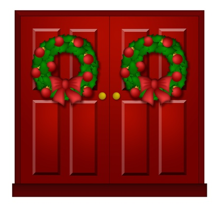 holiday: House Red Door with Christmas Wreath Ornaments and Bow Illustration
