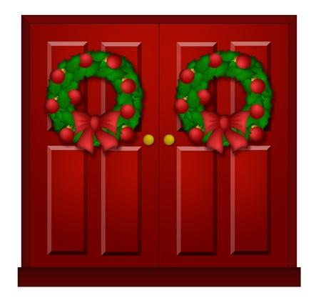 Huis Rode Deur met Kroon van Kerstmis Ornamenten en Bow Illustratie