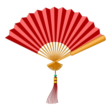 festive background: Chinese Folding Fan with Tassel and Jade Bead Illustration Isolated on White Background