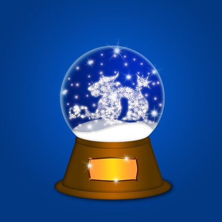 Water Snow Globe with Chinese Dragon and Ball Illustration on Blue Background illustration