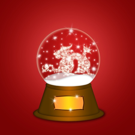 Water Snow Globe with Chinese Dragon and Ball Illustration on Red Background illustration