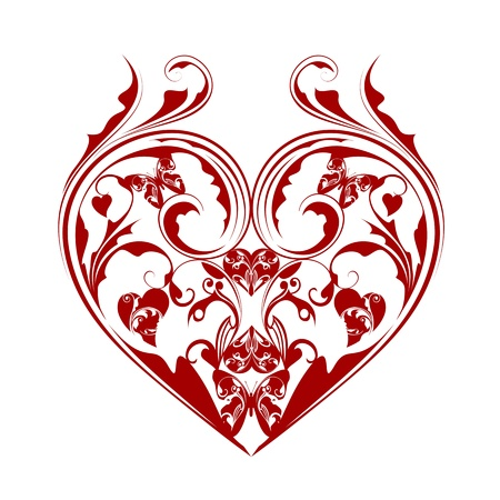 victorian anniversary: Valentines Day Heart with Butterflies and Foliage Leaf Scrolls Illustration Isolated on White Background Stock Photo