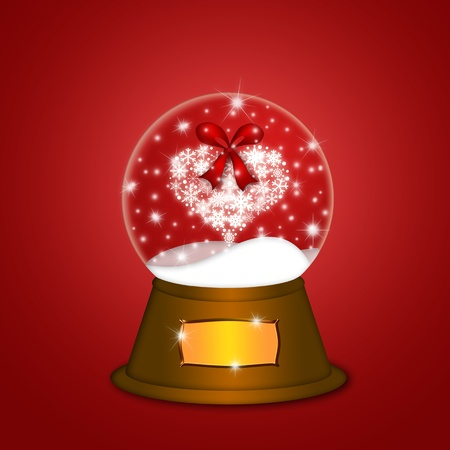 Christmas Water Snow Globe with Snowflakes Heart Illustration on Red Background illustration