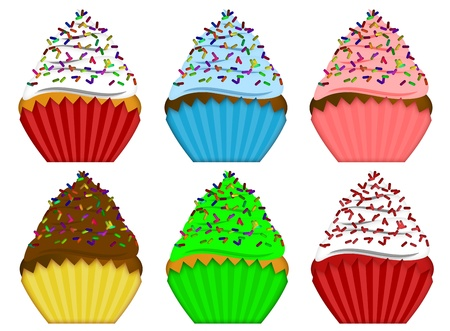 cupcakes isolated: Six Variety Pack Cupcakes with Colorful Chocolate Sprinkles Illustration Isolated on White Background Stock Photo