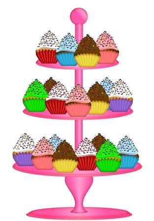 ピンクの三層ケーキのカップケーキ スタンド白い背景で隔離の図