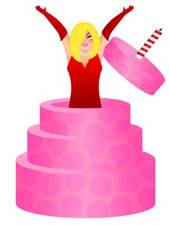 Sexy Blonde Hair Woman with Red Dress Jumping Out of Birthday Cakes Illustration Isolated on White illustration