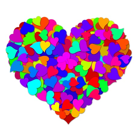 Colorful Hearts Forming Big Valentines Day Heart Shape Design Illustration Фото со стока