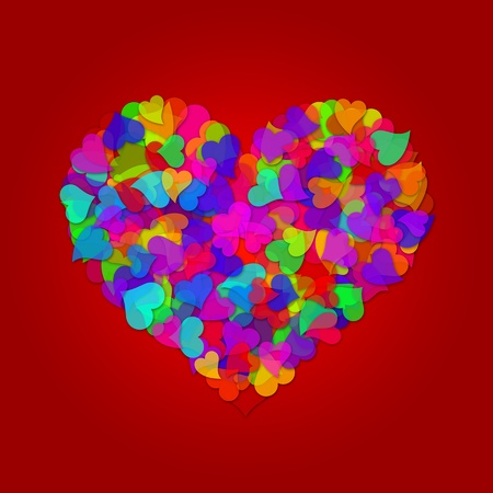 colorful heart: Colorful Hearts Forming Big Valentines Day Heart Shape Design Illustration on Red Background Stock Photo