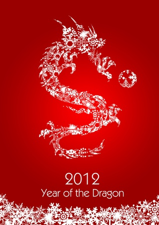 2012 Flying Chinese Snowflakes Pattern year of the Dragon with Ball on Red Background Illustration illustration